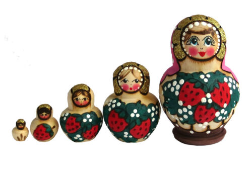 Pink, Red toy Traditional Matryoshka 5 pieces Strawberry T2104027