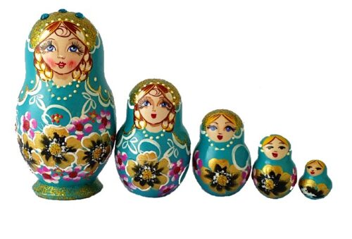 Blue toy Traditional blue matryoshka 5 pieces T2104028