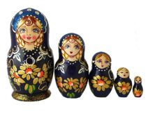 Blue toy Matryoshka-traditional-blue-5-pieces-T2004024