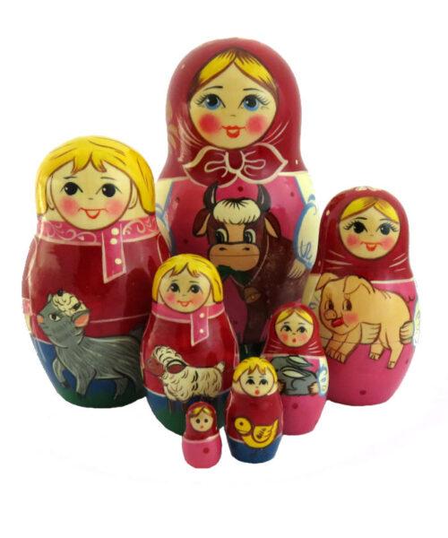 Grey, Pink, Purple toy Matryoshka 7 pieces - The farm T2104006