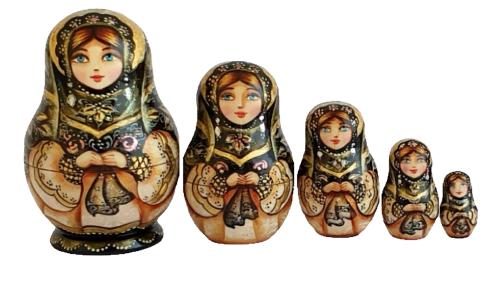 Black, Brown, gold toy Mini matryoshkas - traditional costume T2104041