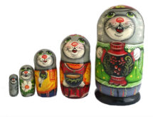 Gray, Green toy Nesting doll - hare T2104054