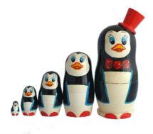 Black, White toy nesting doll - penguin T2104052