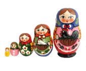 Blue, Pink, Red toy Russian doll - The farm T2104020