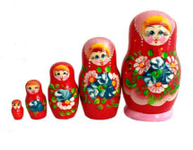 Pink, Red toy Russian nesting doll red T2004019