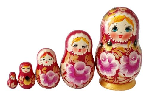 Pink, Purple toy Russian doll 5 pieces red T2104023
