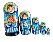 Blue toy Wooden russian dolls with animals T2104001