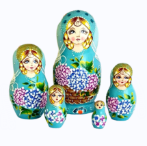 Blue toy Blue nesting doll with flowers - Russian crafts T2104080