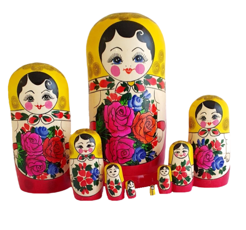 Red, Yellow toy Classic nesting doll 9 pieces T2104070
