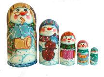 Blue, Brown, White toy Matryoshka -Snowman T2105020