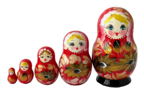 Red toy Matryoshka - Flowers - Russian Souvenirs T8929