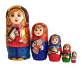 Blue, gold, Red toy Nesting doll - Family T2105002