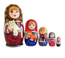 Black, Red toy Matryoshkas Russian dolls with catsT2104085