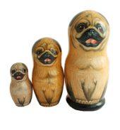 Brown toy Matryoshkas russian dolls -pug T2104066