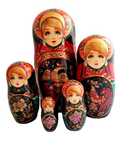 Black, gold, Red toy Matryoshka 5 pieces - Little bird T2105028