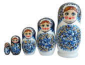 Blue, White toy Matryoshka-Flowers-white-blue T2105024