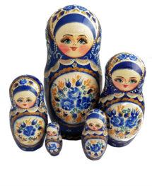 Blue, White toy Matryoshka-Traditional-blue-5-piecesT2104081