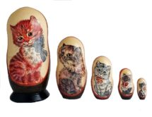 Brown toy Nesting doll -Cats T2105029