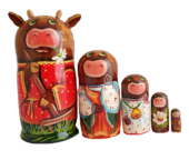 Brown toy Nesting dolls - the farm T2104067