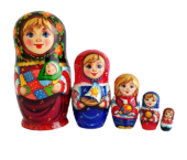 Black, Red toy Nesting doll - mother with children T210504