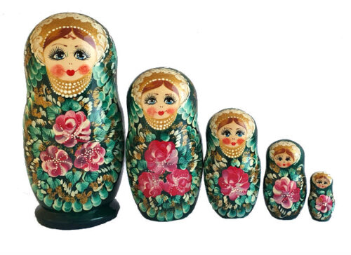 Green toy Russian traditional 5-piece doll T2105030