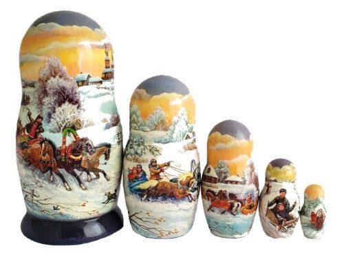 Blue, Grey, White toy Russian dolls - Winter Troika  T2104076