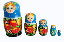 Blue toy Traditional blue matryoshka with strawberry 5 pieces T2104082