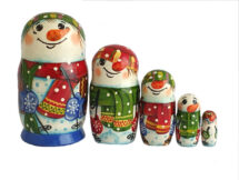 Blue, Green, Red toy Matryoshka -Snowman 2105017