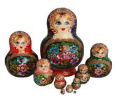 Blue, Red toy Matryoshka original 10 pieces multicolor T210483