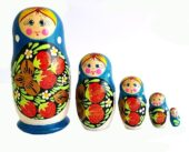 Blue toy Russian doll with strawberry 5pieces T2105013