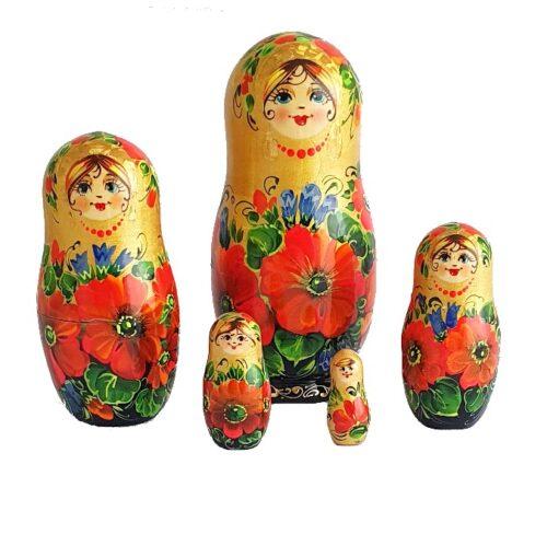 gold toy Matryoshka - Poppies T2106010