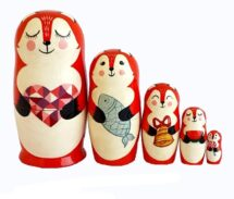 Red, White toy Russian dolls-Fox T2106008