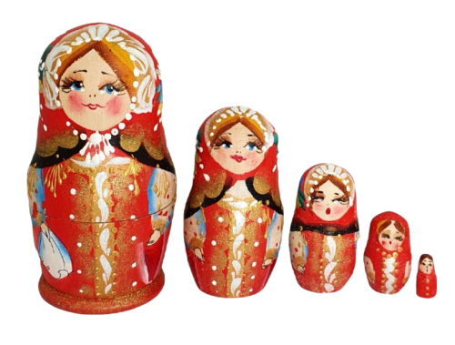 Red toy Traditional matryoshka T2106003