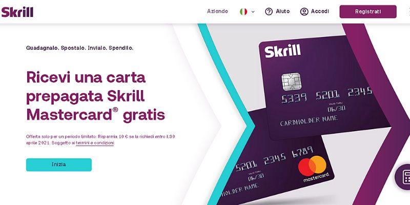 Pagina principale (skrill.com) - Come funziona la carta Skrill