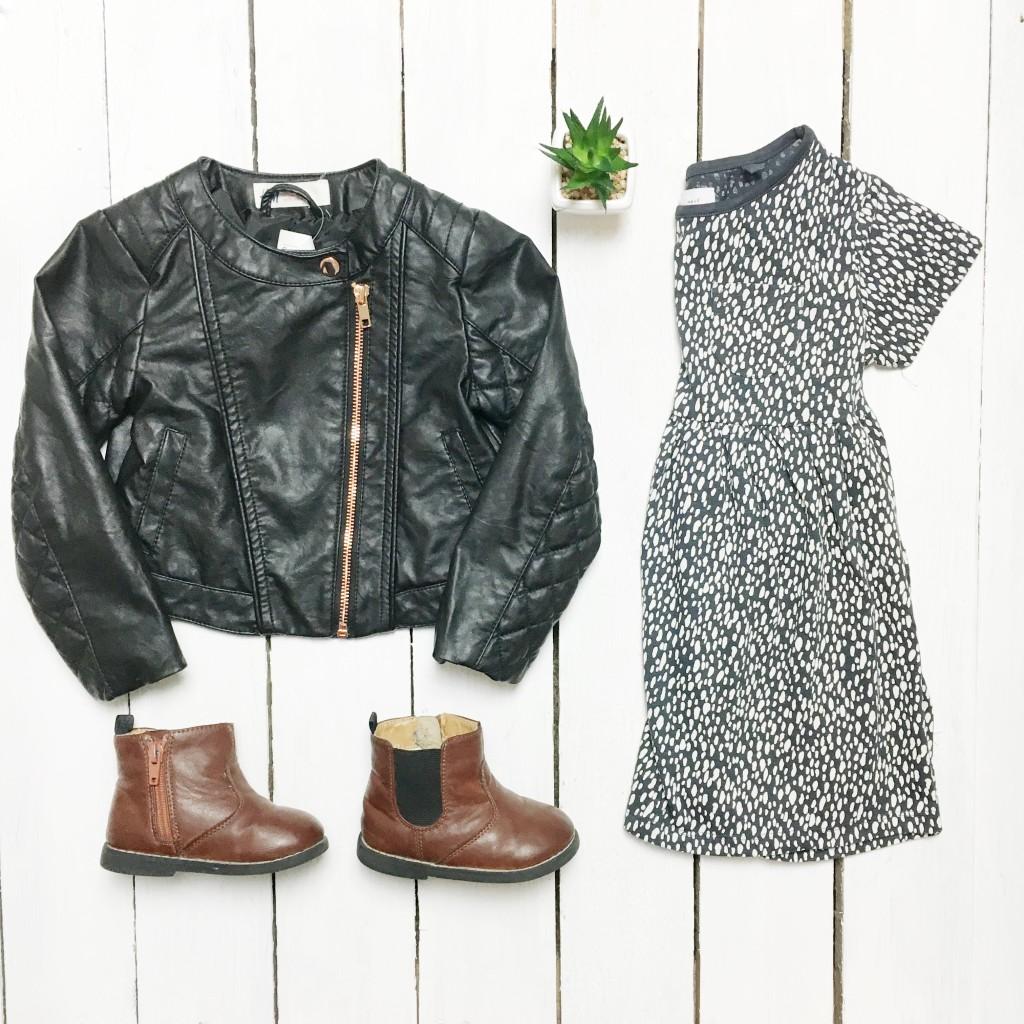 kids fashion flatlay leather jacket
