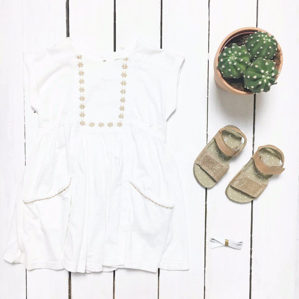 next girls white dress glitter sandals