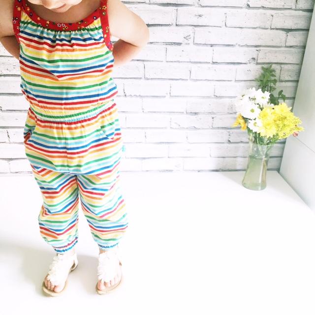 little bird rainbow stripe jumpsuit outfit