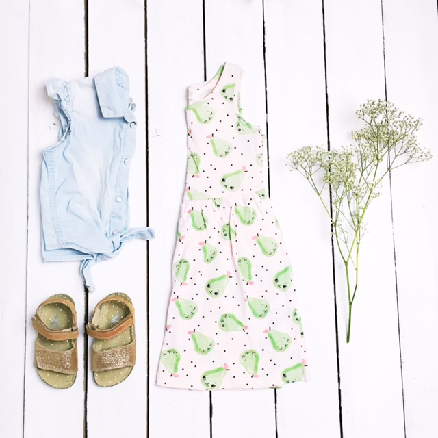 hm kids print dress next sandals denim shirt flatlay