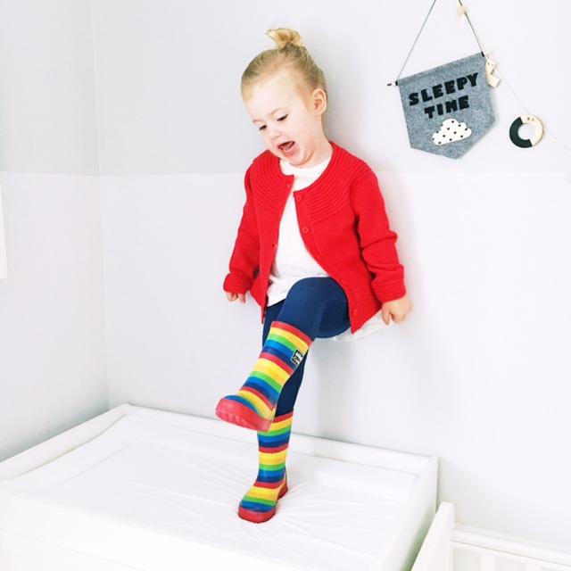 jojo maman bebe red cardi rainbow wellies kids fashion weekend tot style 3