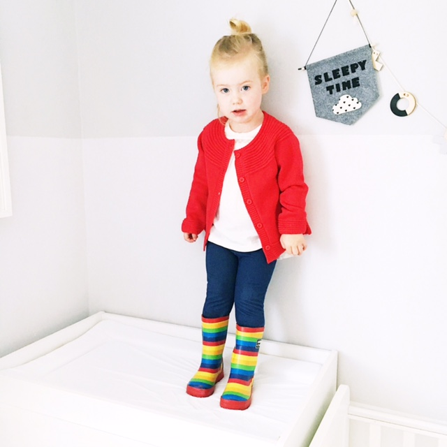 jojo maman bebe red cardi rainbow wellies kids fashion weekend tot style2