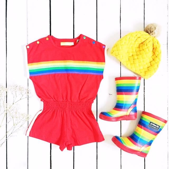 little bird by jools rainbow playsuit weekend tot style flatlay jojomaman bebe