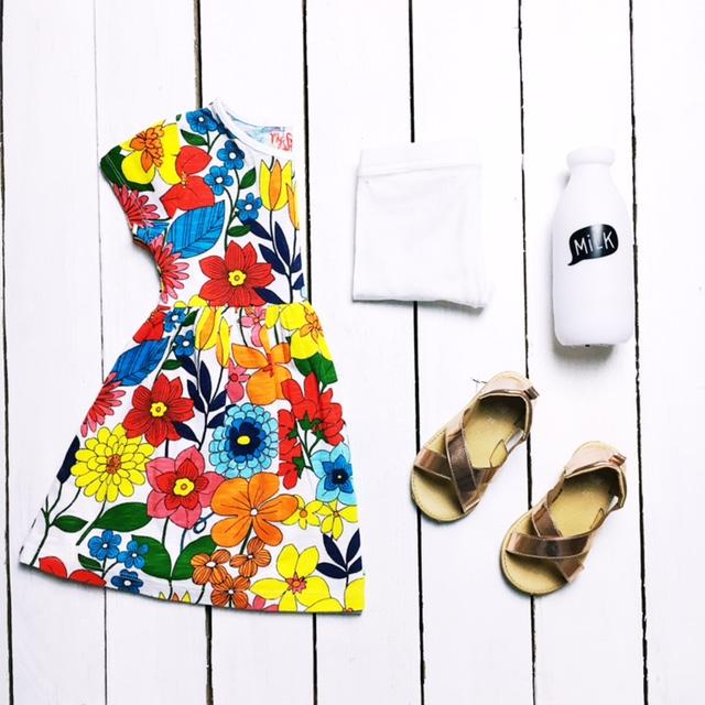 next girls flower dress rose gold sandals ootd flatlay