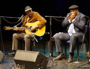 Michael with Keith Dunn on harmonica, Artrix Arts Centre, Bromsgrove UK (2014)