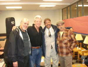 Michael with Stefan Grossman, John Hammond Jr and Roy Bookbinder, Merlefest, N. Carolina, USA (2012)