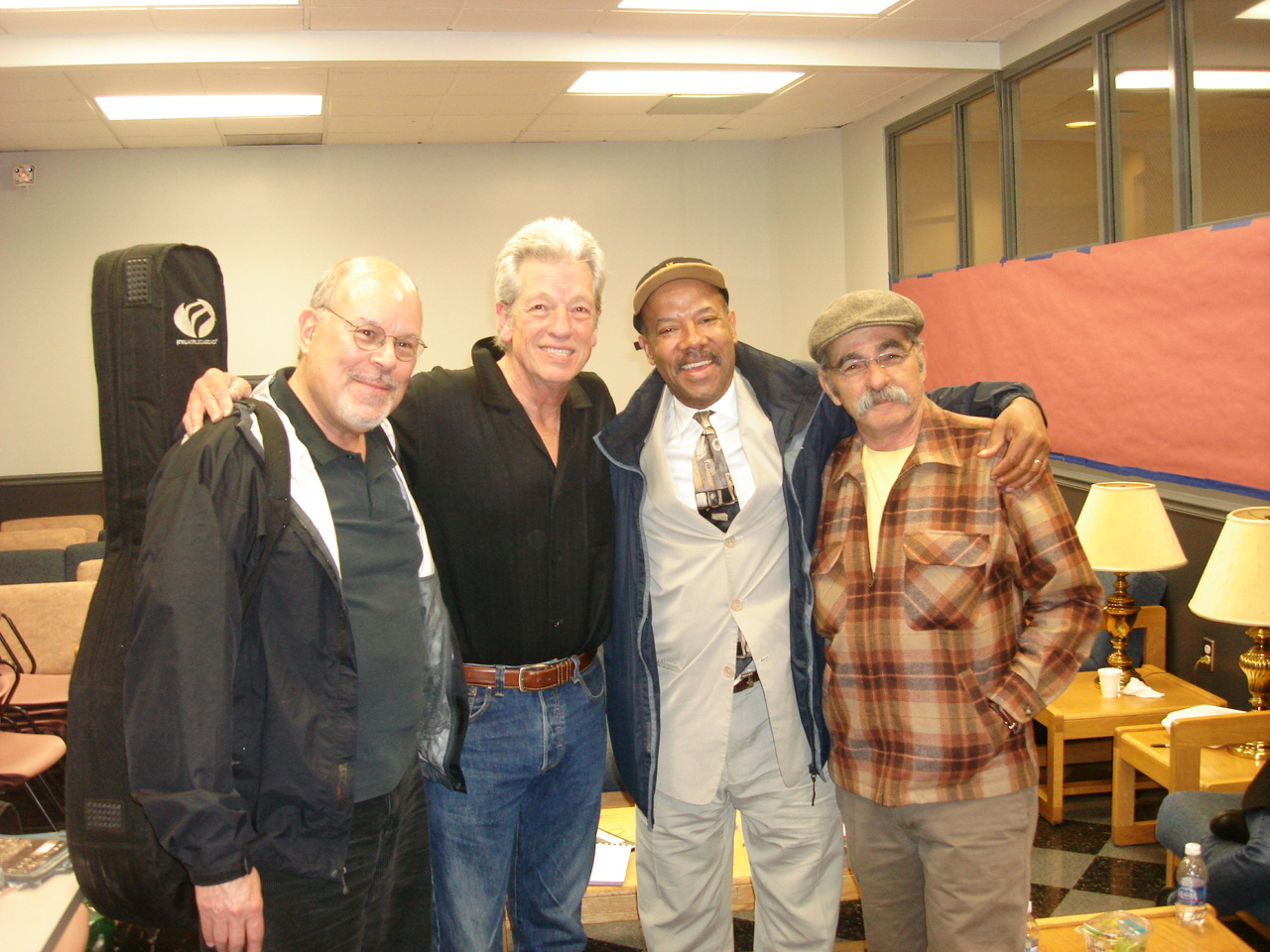 Michael with Stefan Grossman, John Hammond Jr and Roy Bookbinder, Merlefest, N. Carolina, USA (2012)