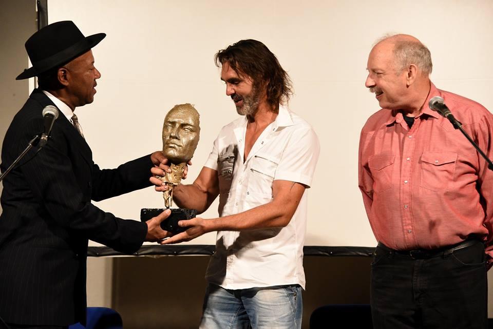 Michael receiving the Kastav Blues Festival Award with Emil Knapic and Duck Baker, Croatia 2017