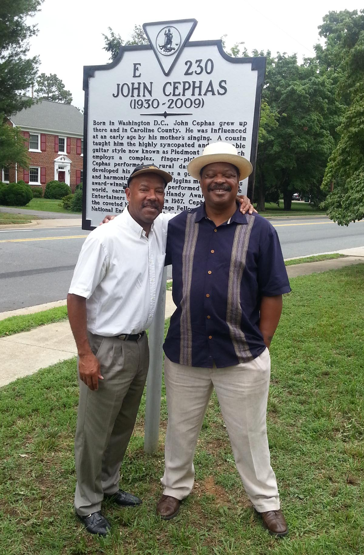 Michael with Phil Wiggins at the John Cephas Memorial Highway Marker, Bowling Green, Virginia 2014