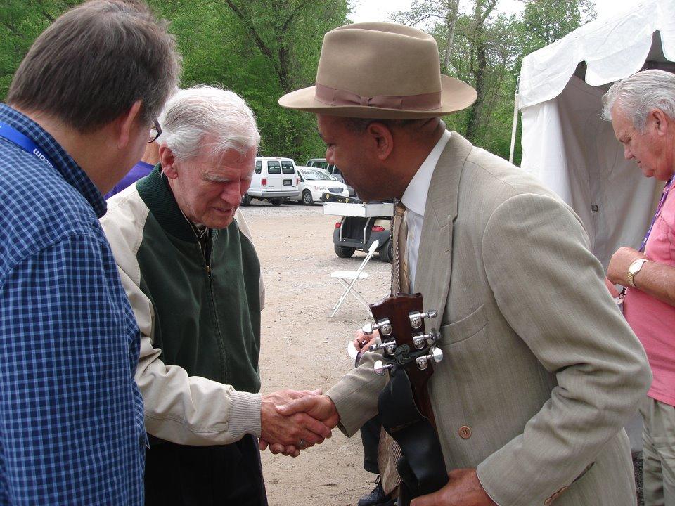 Michael with Doc Watson at Merlefest, North Carolina, USA 2012