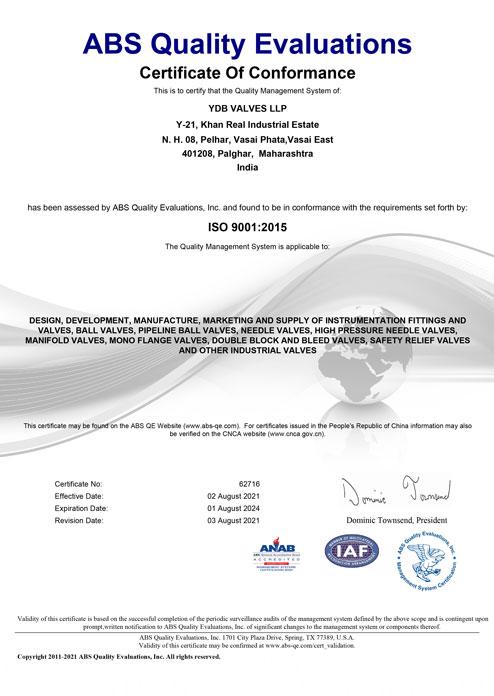ISO Certified Valves