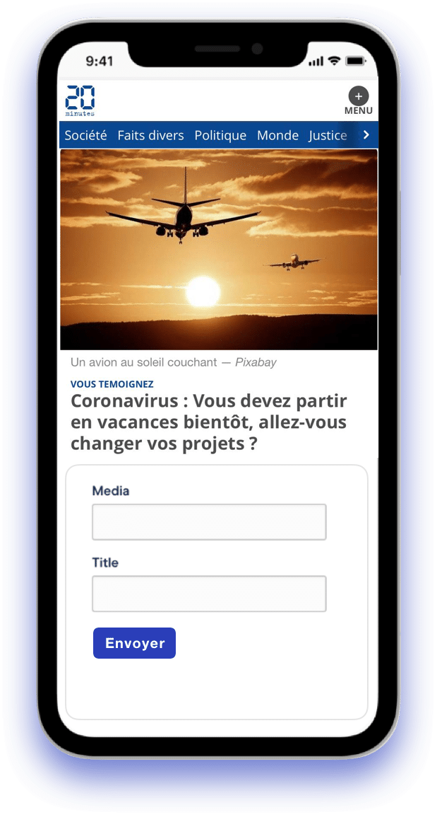 Contribly upload widget on phone with 20minutes coronavirus story
